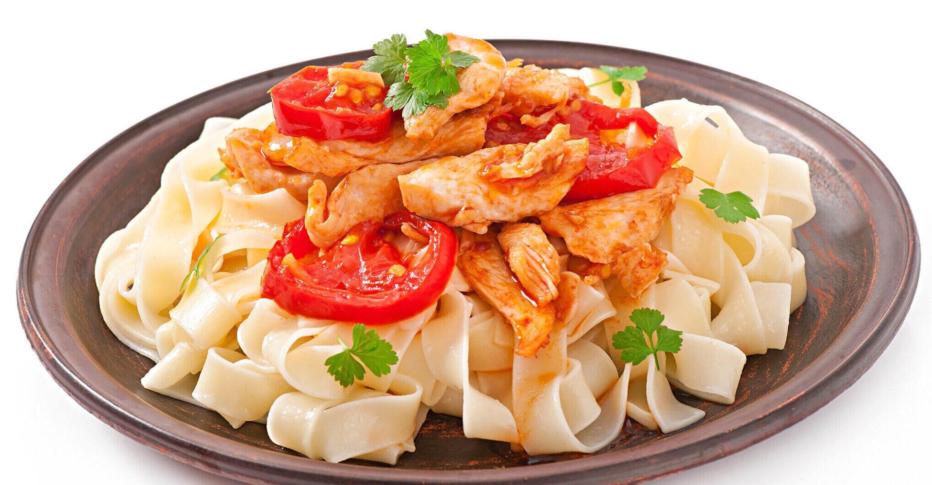 Chicken and ham linguine pasta