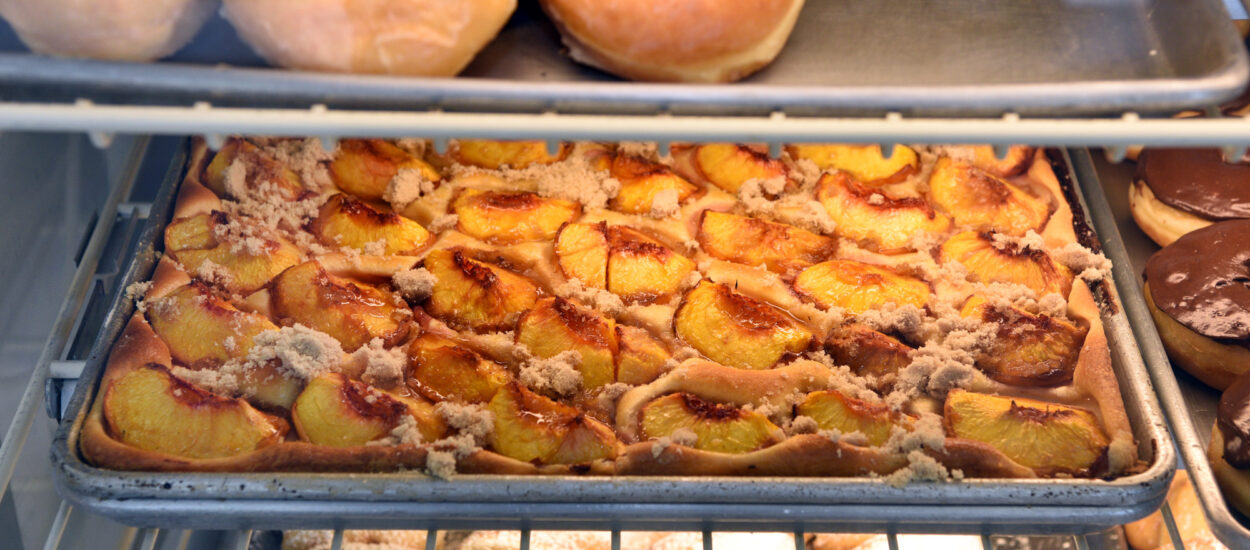 What is the easiest recipe for Baltimore peach cake?