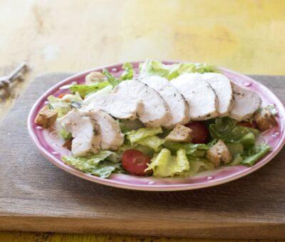 Teriyaki Grilled Chicken & Herbed Chicken Caesar Salad recipe