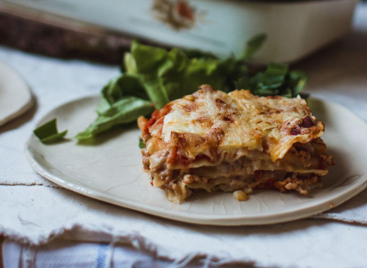 The recipe of meatless lasagna